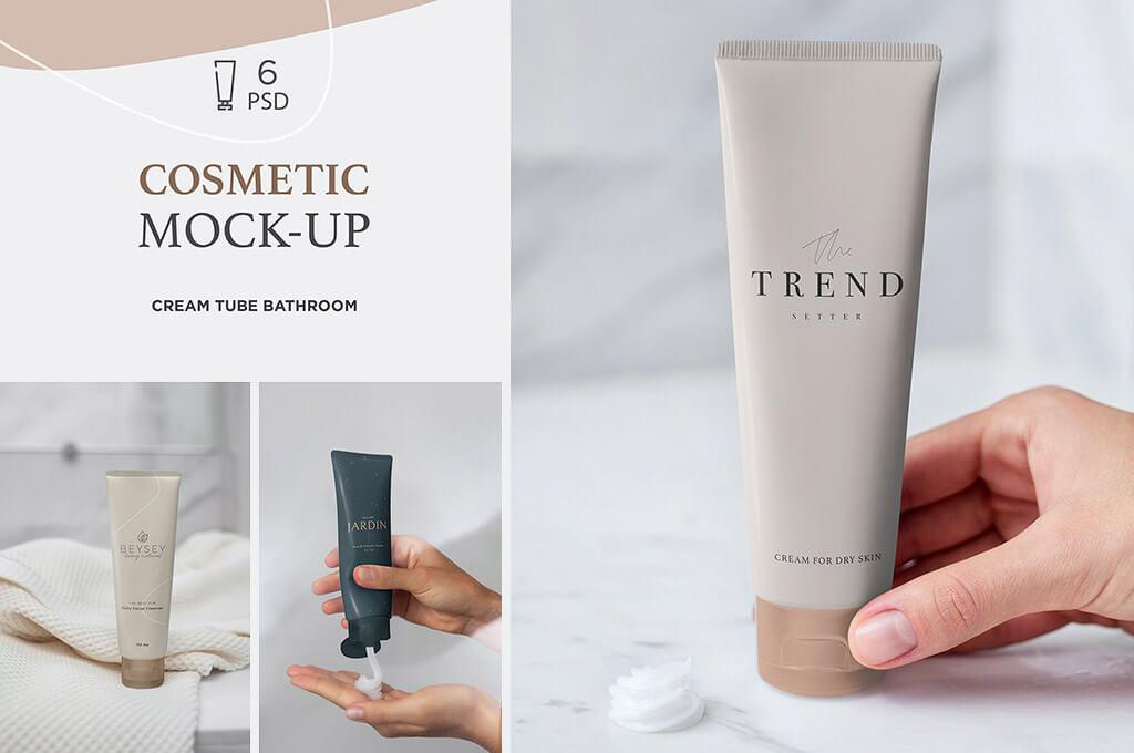 Cosmetic Mockup Cream Tube Bathroom