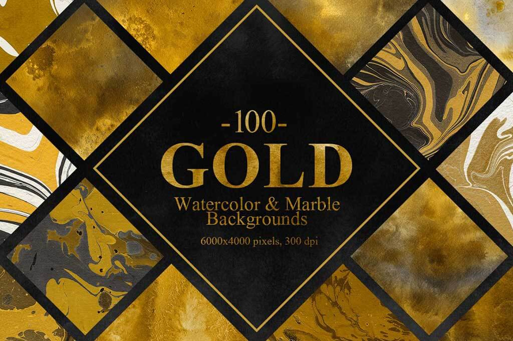 Gold Watercolor Marble Backgrounds