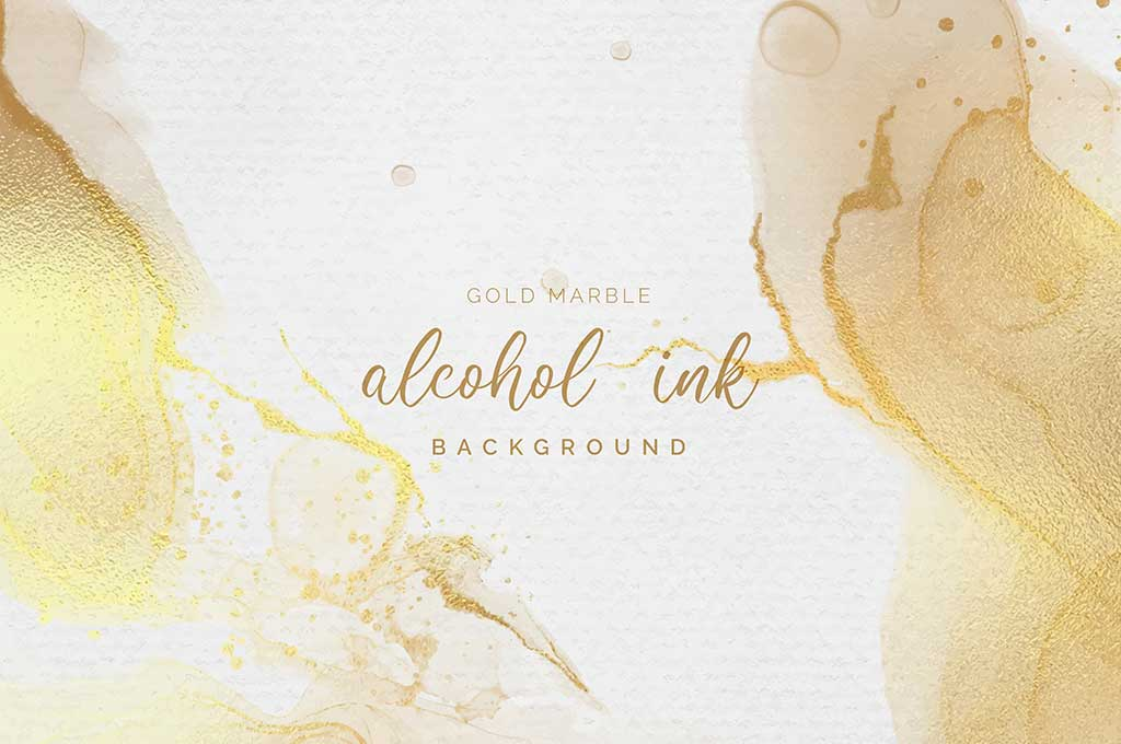Gold and White Alcohol Ink Background