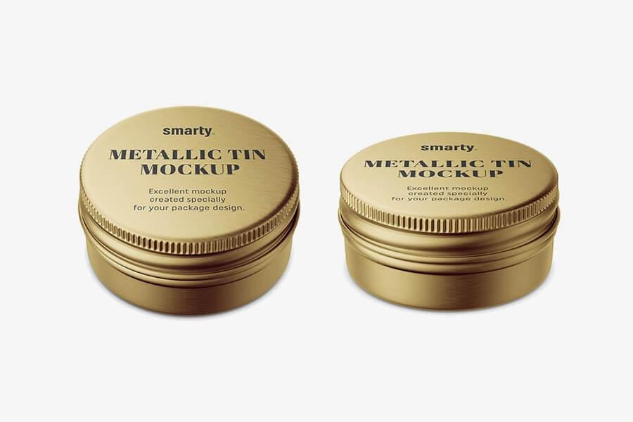 Small Cosmetic Tin Can Mockup