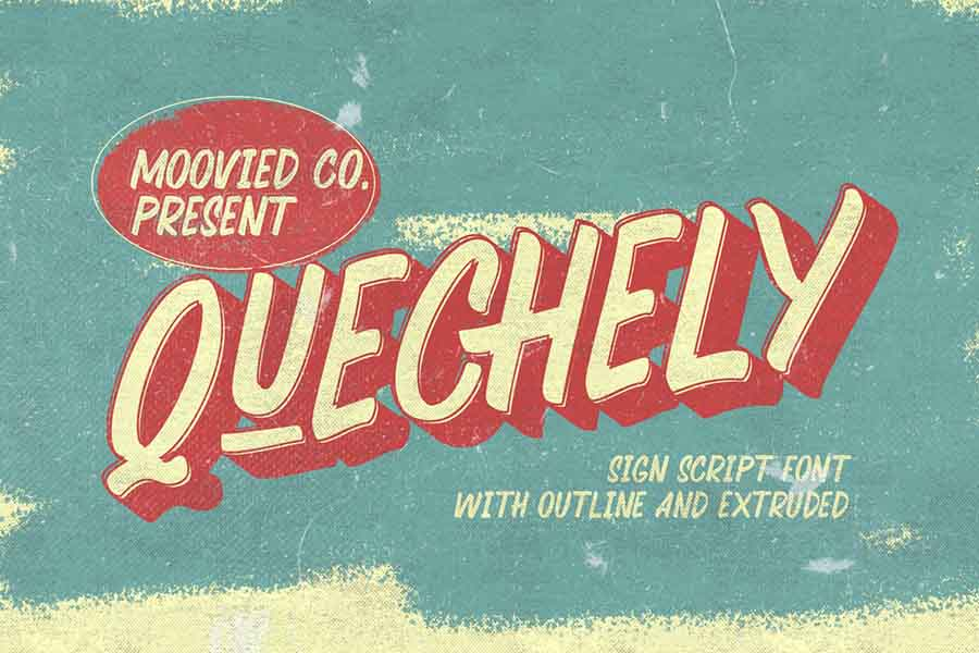 Quechely Sign Retro Layered Font