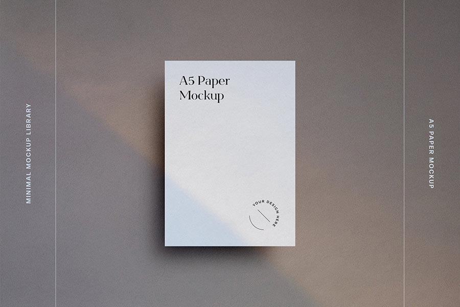 Minimal A5 Paper Mockup