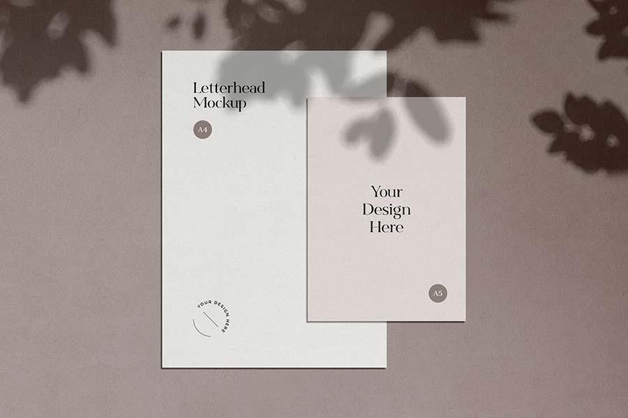 Shadow Overlay Letterhead Mockup