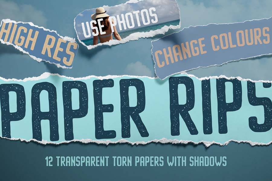 12 Isolated Paper Rips