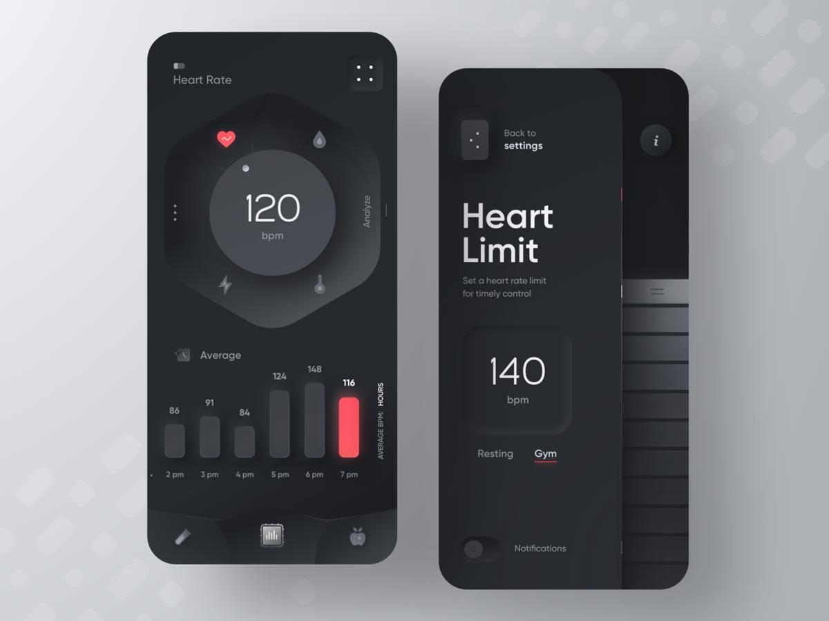 Fitness Device App by Sèrgi Mi for Fireart Studio