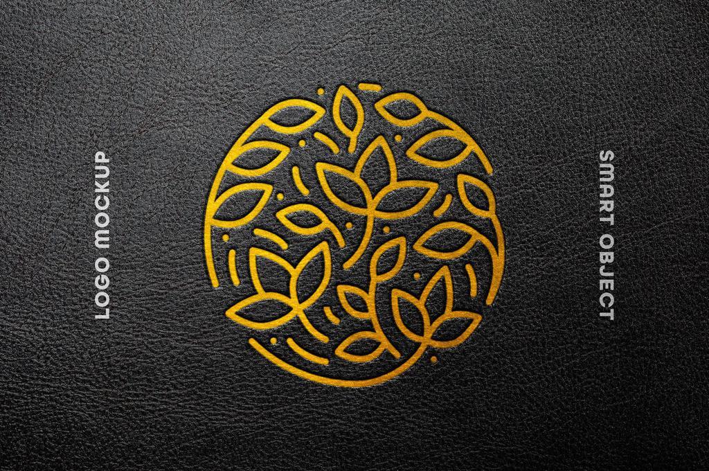 Foil Leather Press Logo Mockup