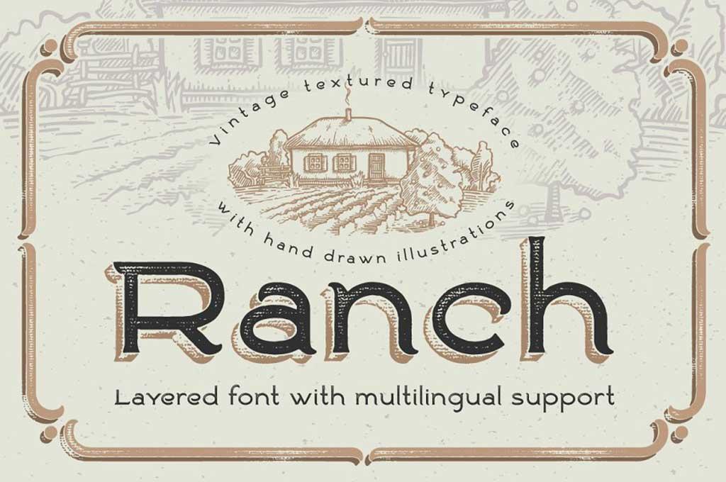 Ranch Vintage Font & Illustrations