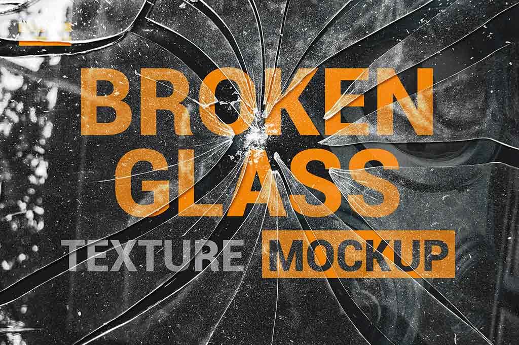 Broken Glass Texture Mockup