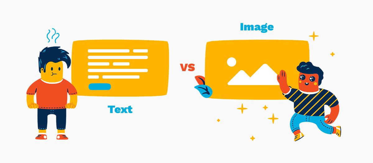 Visuals vs text