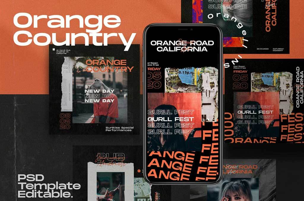 Country Orange - Instagram Template + Stories