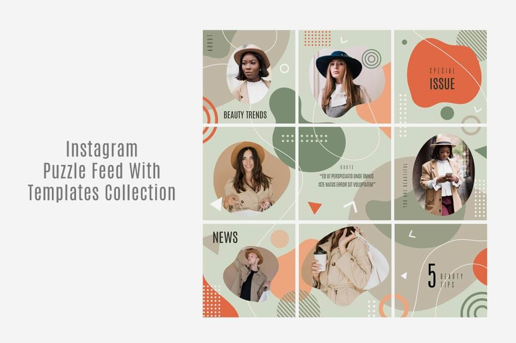Instagram Puzzle Feed With Templates Collection