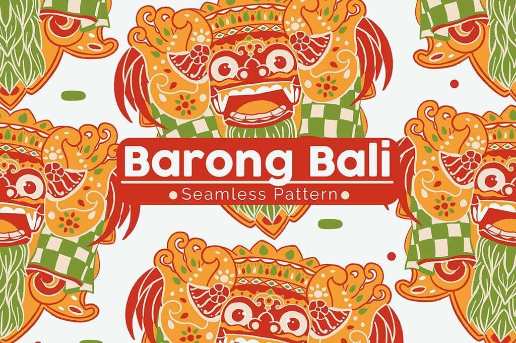 Barong Bali Seamless Pattern