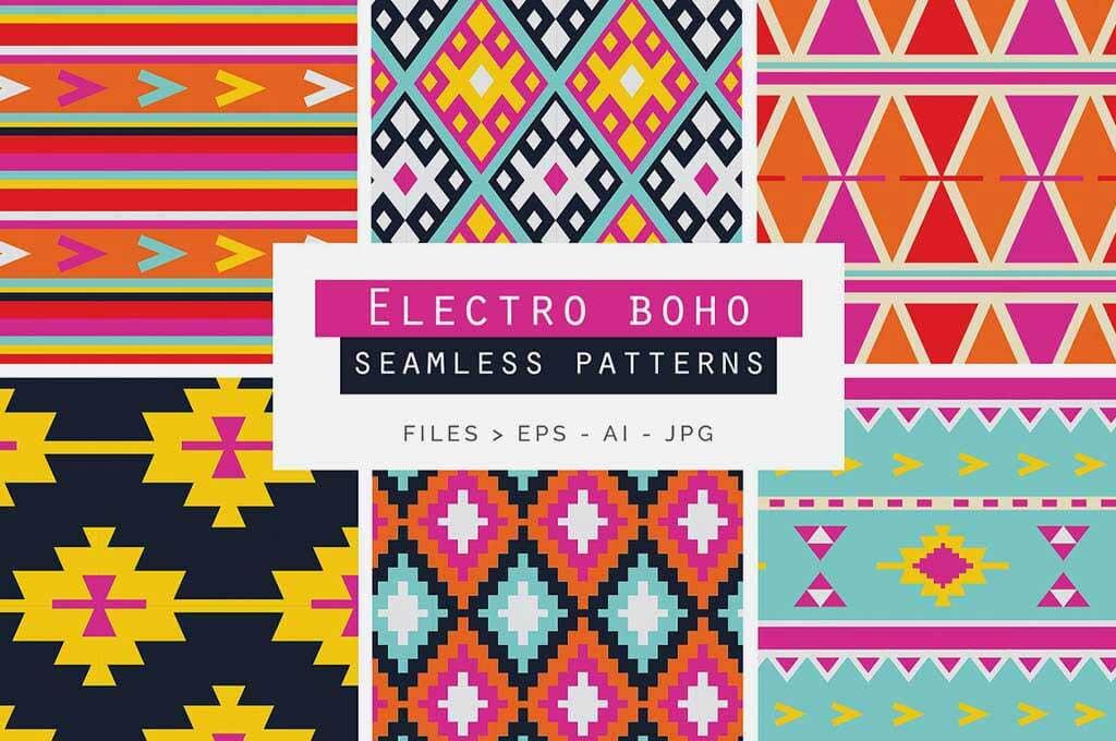 Electro Boho Seamless Vector Patterns