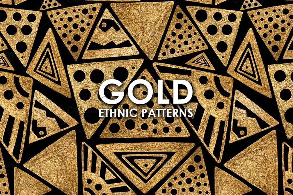 GOLD ETHNIC patterns. Hand painted.