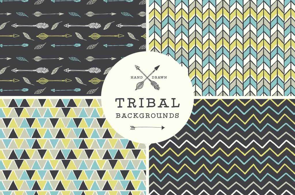 Hand Drawn Tribal Background Vector Set