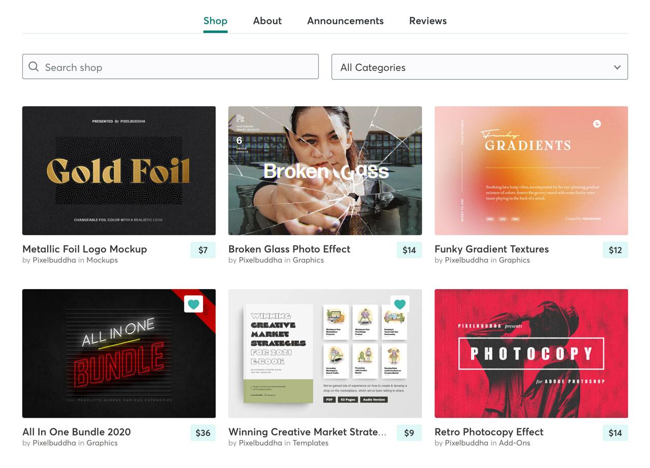 Pixelbuddha store front on Creative Market