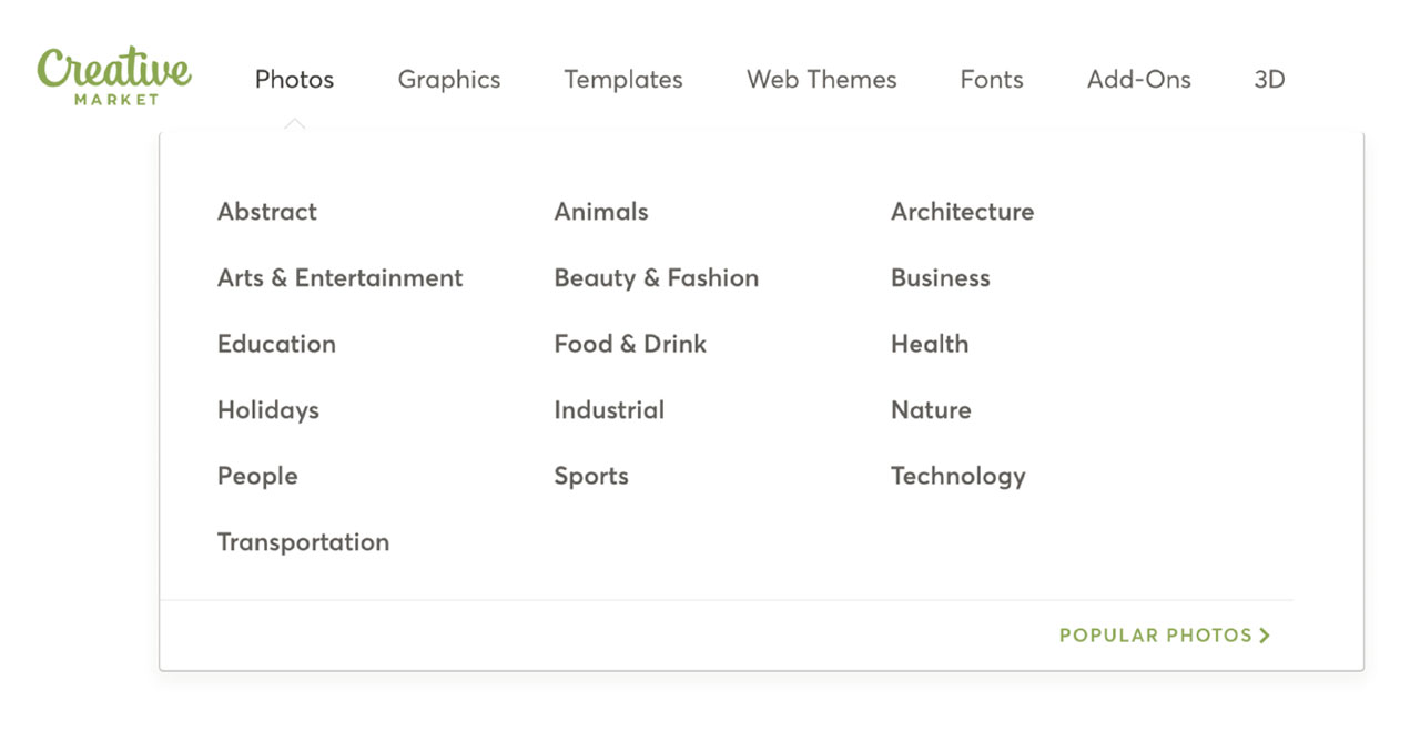 Creative Market Categories