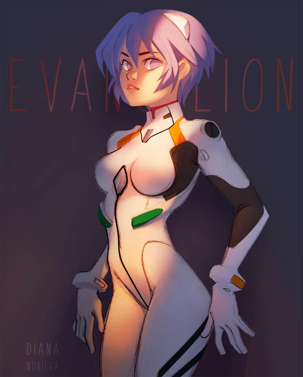 Evangelion Fan Art by Diana M. Noriega