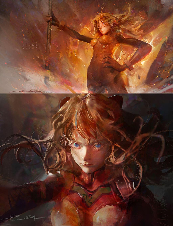 Evangelion Fan Art by Entei Ryu