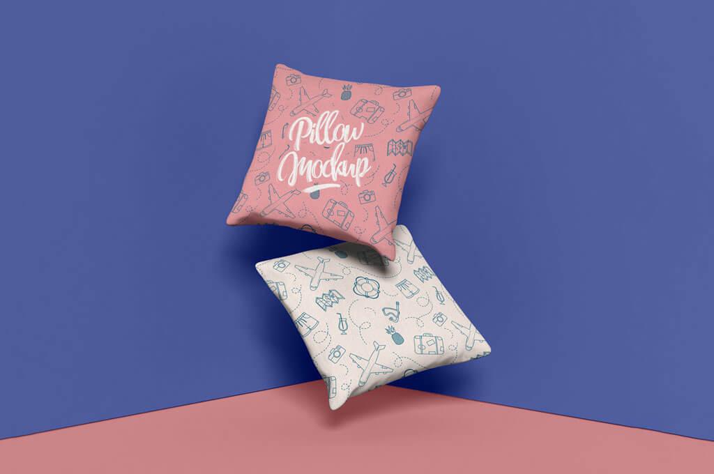 Free Brand Square Pillow Mockup Design PSD 2019