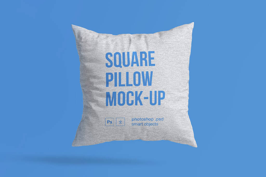 Free Floating Square Pillow Mockup PSD