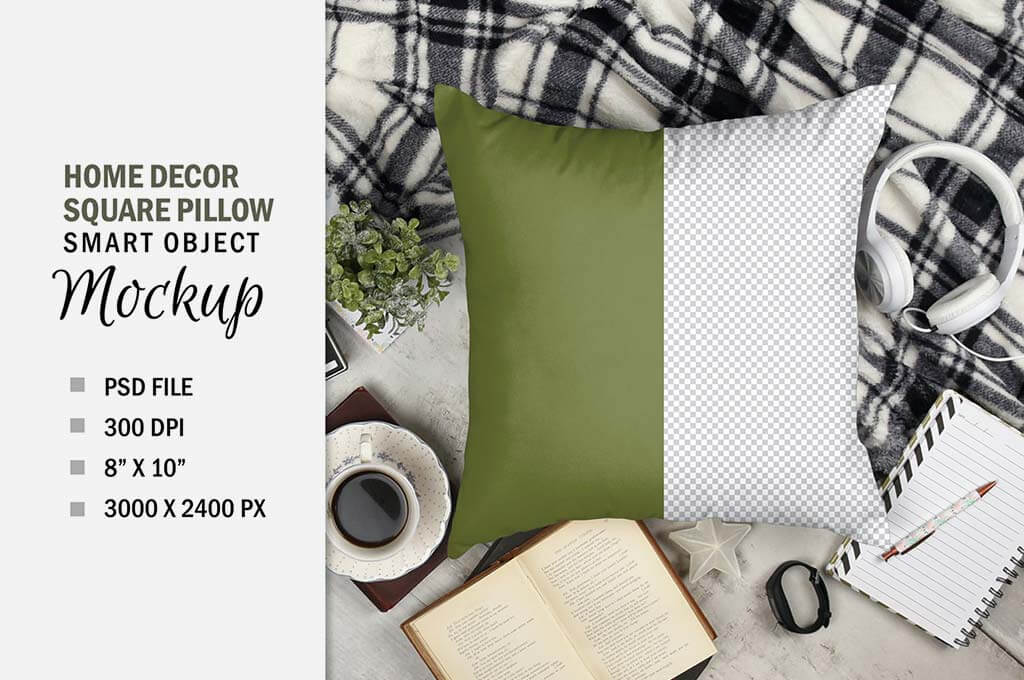 Square Pillow Mockup Sublimation Flatlay