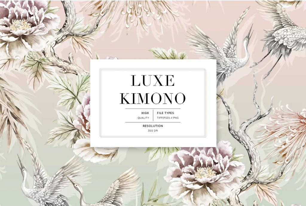 Luxe Kimono, Patterns & Motifs set!