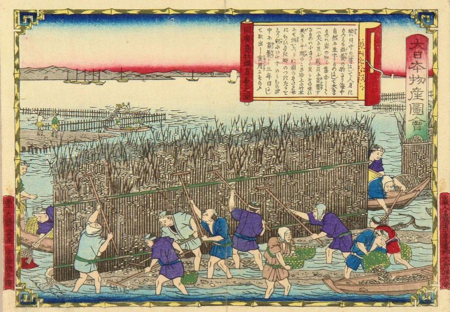 Oyster farming, Aki Province, Utagawa Hiroshige III