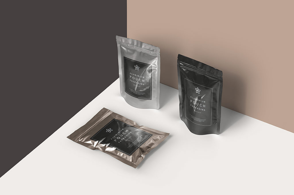 PSD Metal Foil Packaging Mockup