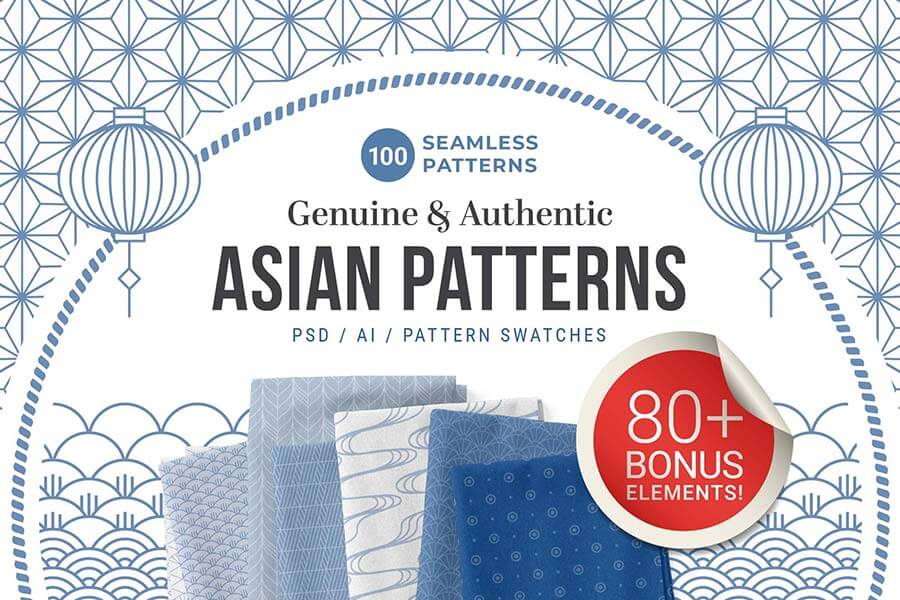 100 Asian Patterns Element and Border