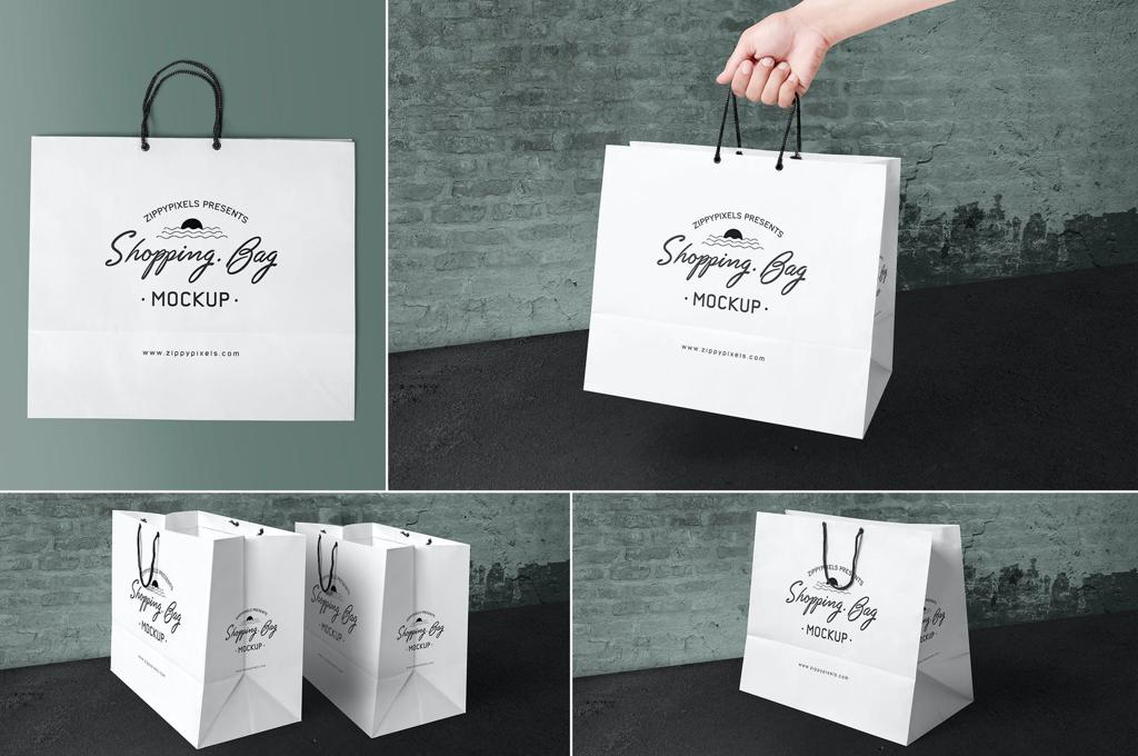 4 Paper Shopping Bag Mockups