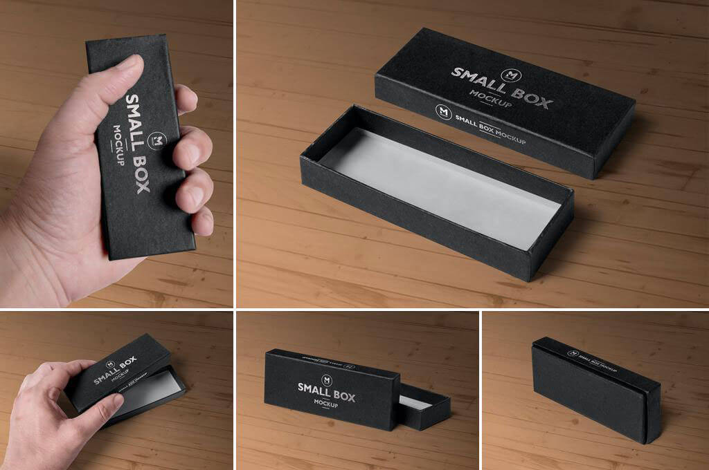 5 Black Rectangular Box Mockups
