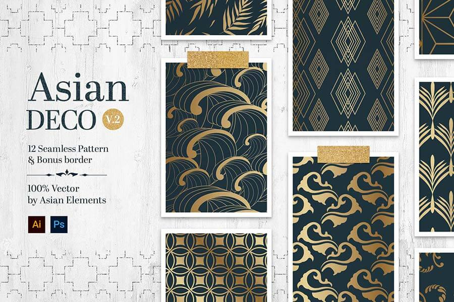 Asian Deco Vol.2 : Seamless Art Deco Pattern