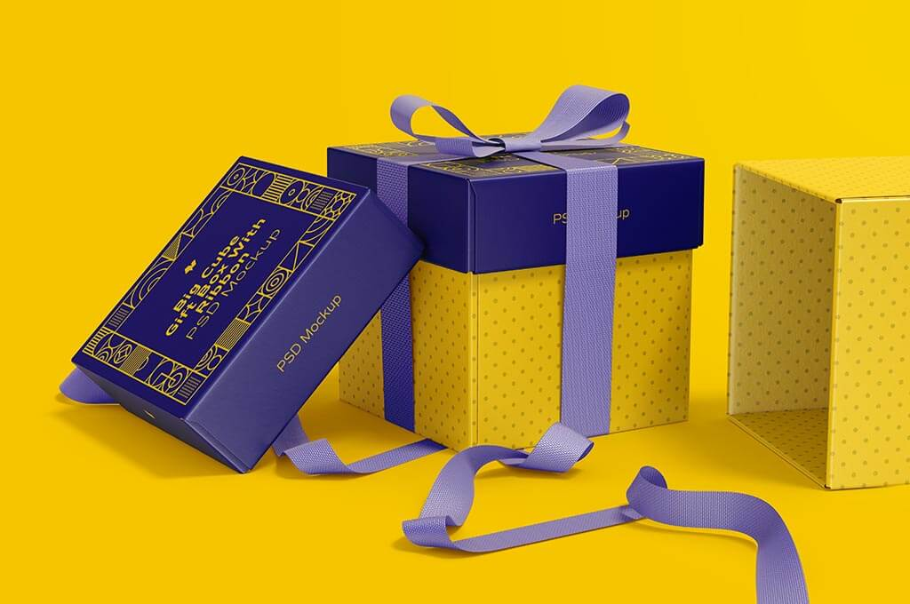 Big Cube Gift Boxes With Ribbon Mockup