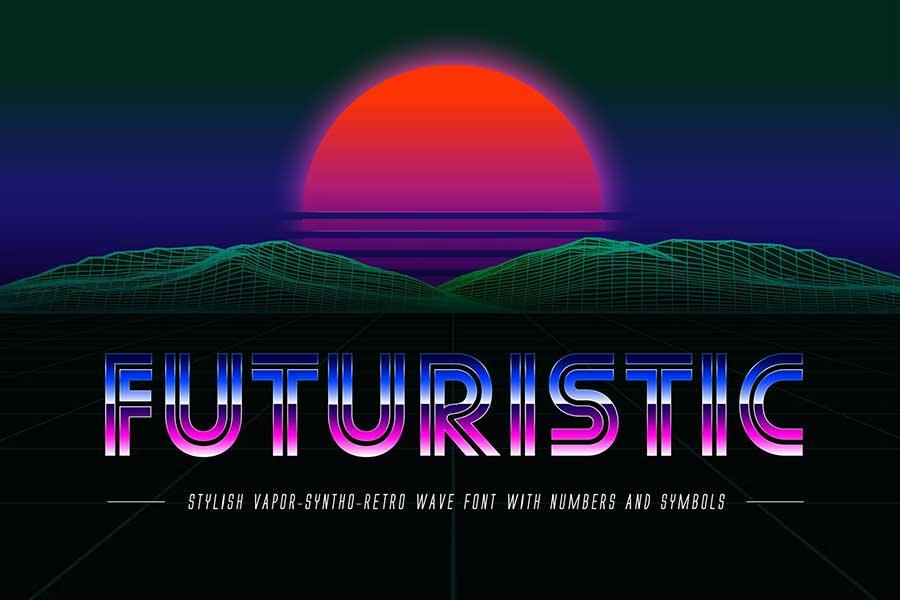 Futuristic OTF Vaporwave 80s Font