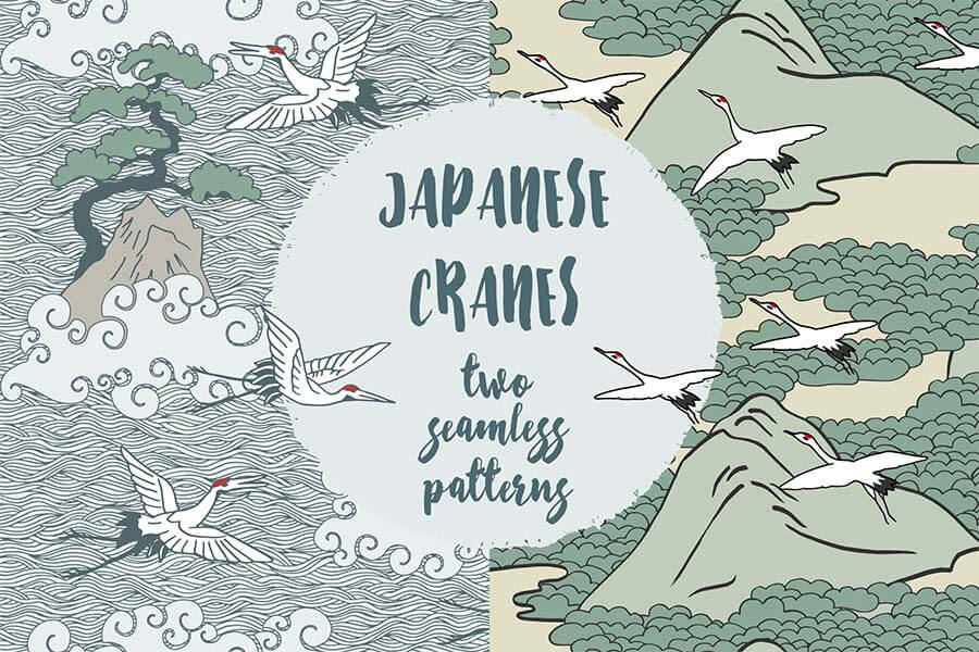 Japanese Cranes - Two Hand Drawn Seamless Pattern