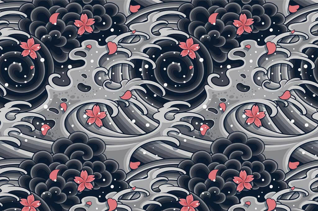 Japanese wave with sakura seamless pattern