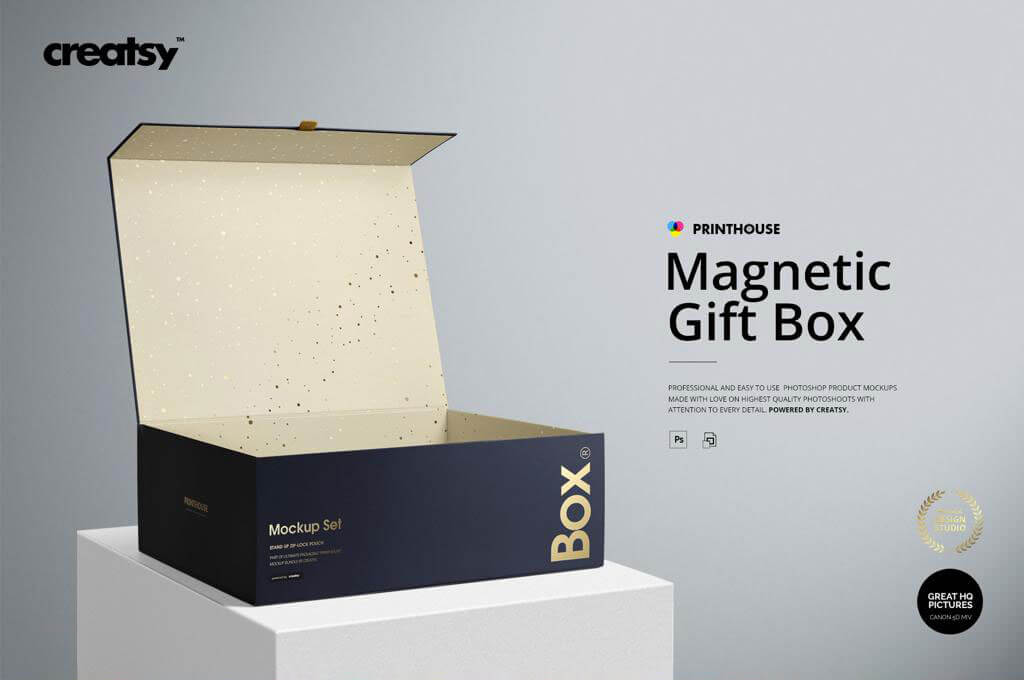 Magnetic Gift Box Mockup Set
