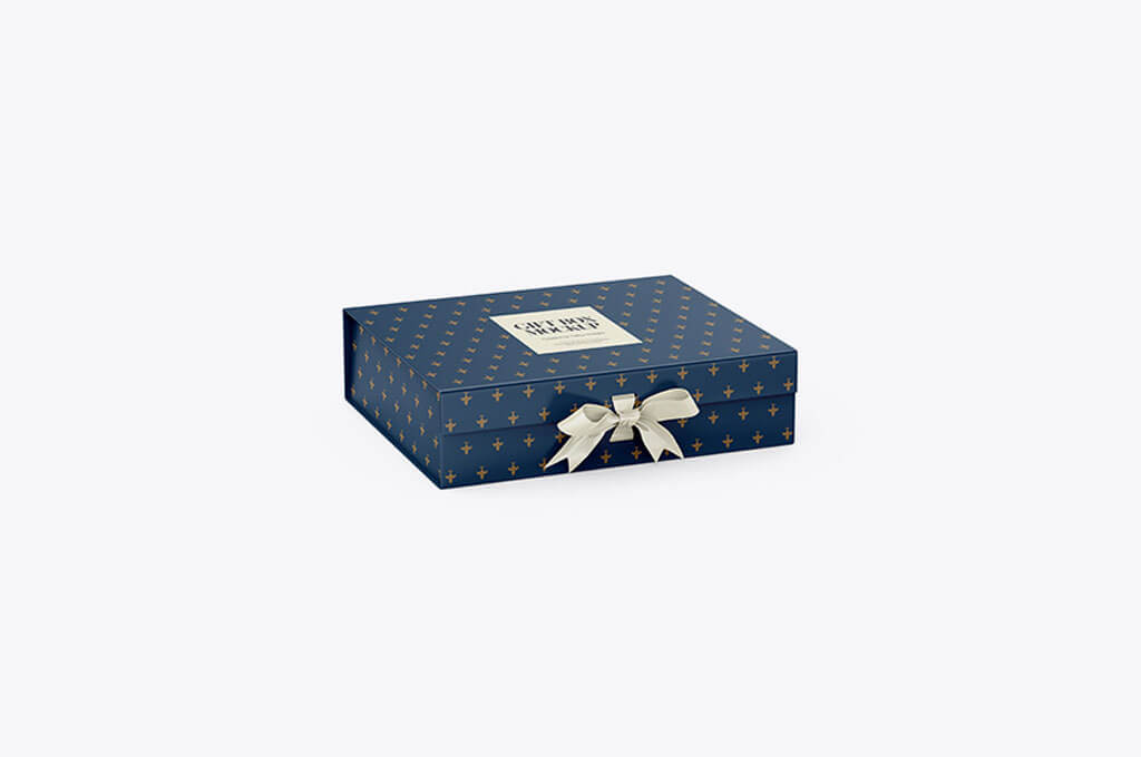 Matte Gift Box With Bow Mockup