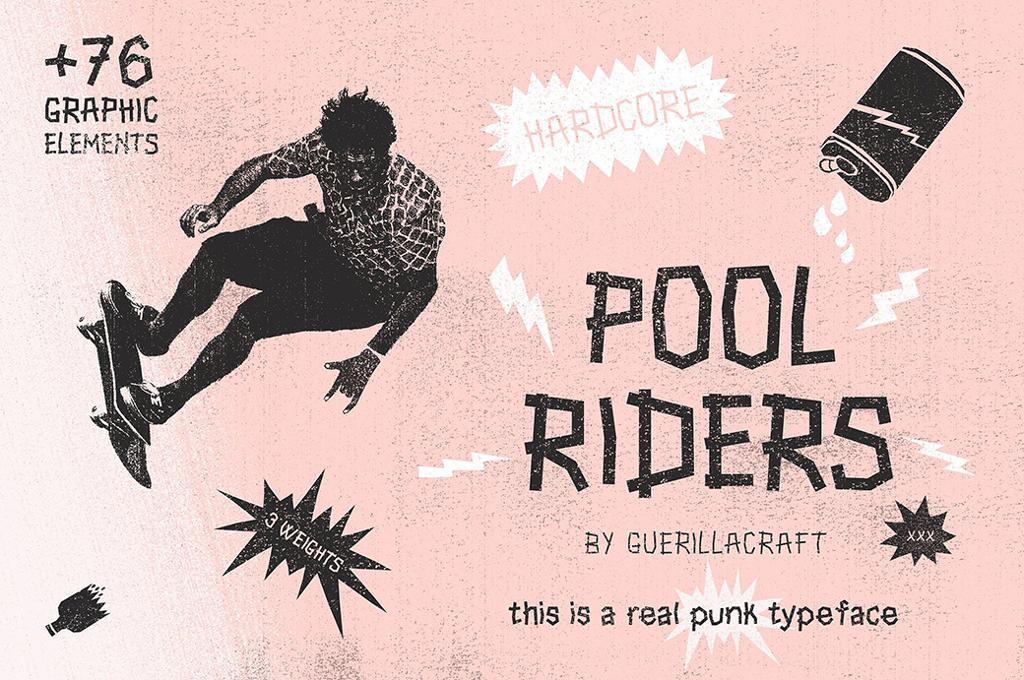 Pool Riders Typeface + Bonus Vector Cut-Outs