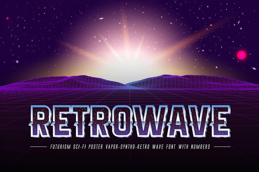 Retrowave Space OTF Vaporwave Font + Backgrounds