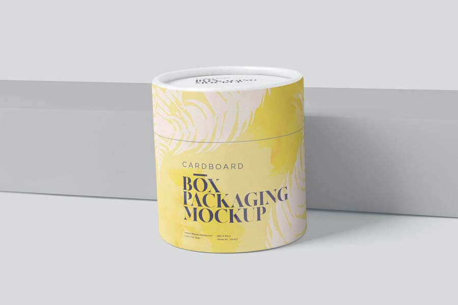 Round Cardboard Box Packaging Mockups