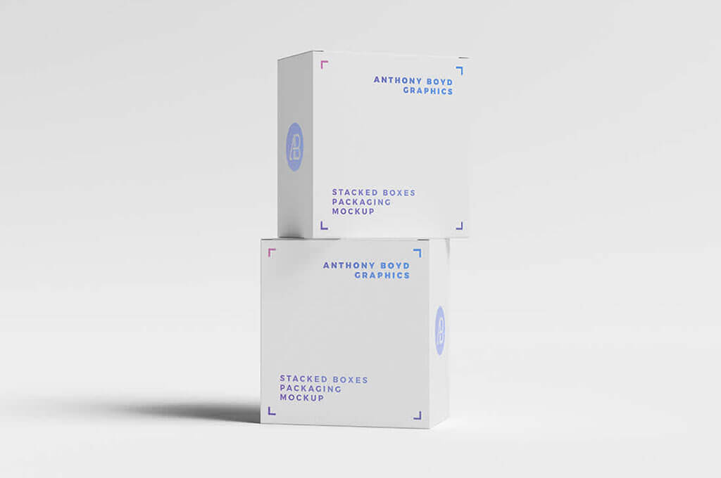 Stacked Boxes Packaging Mockup