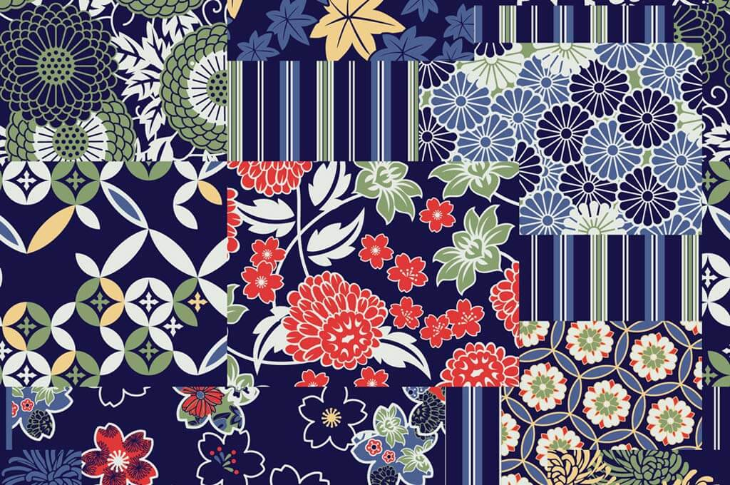 Traditional japanese fabrics patchwork wallpaper