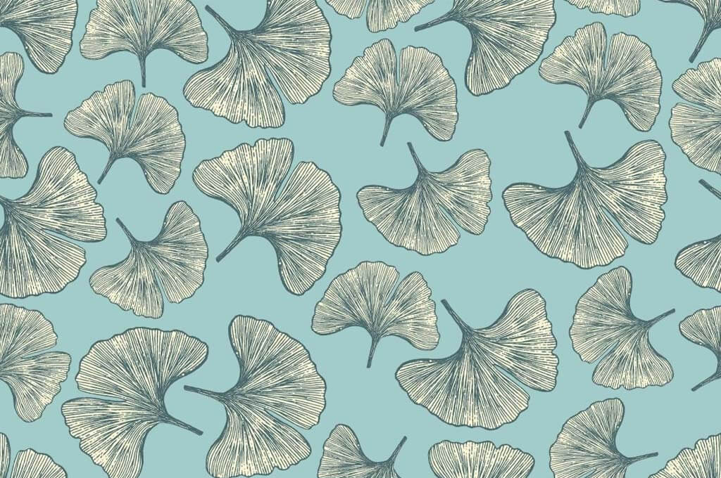 Vector Hand-Drawn Gingko Leaf Seamless Pattern