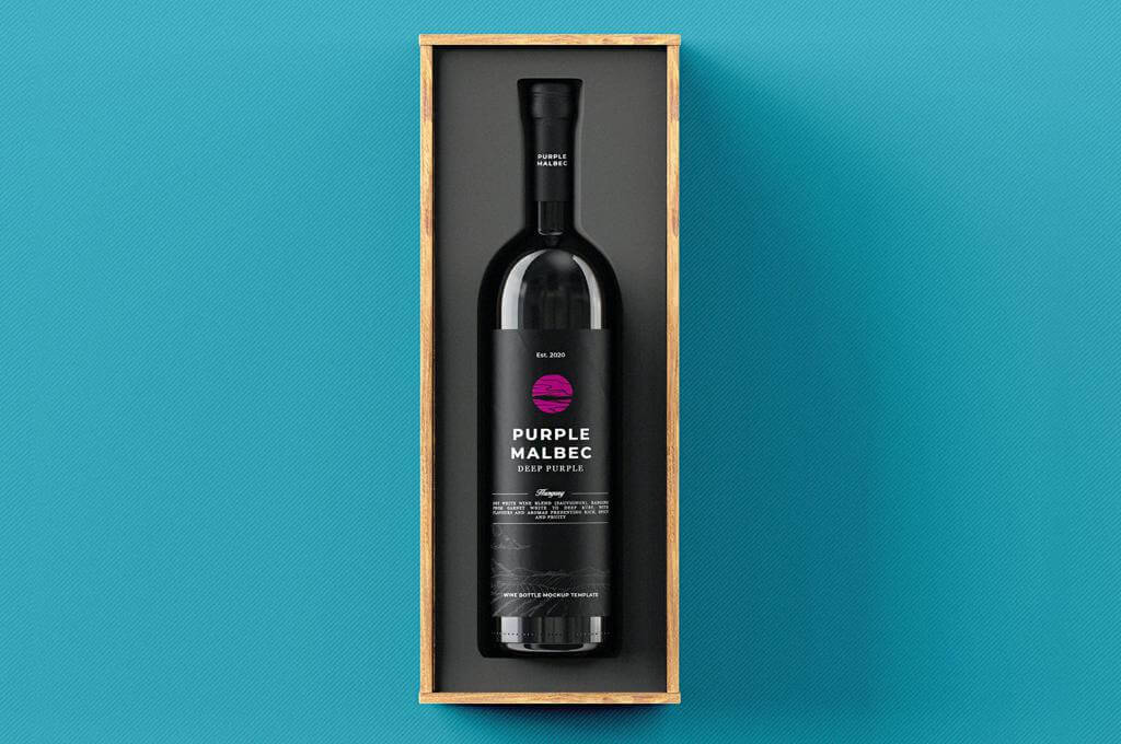 Wine Bottle Gift Box Mock-up Template