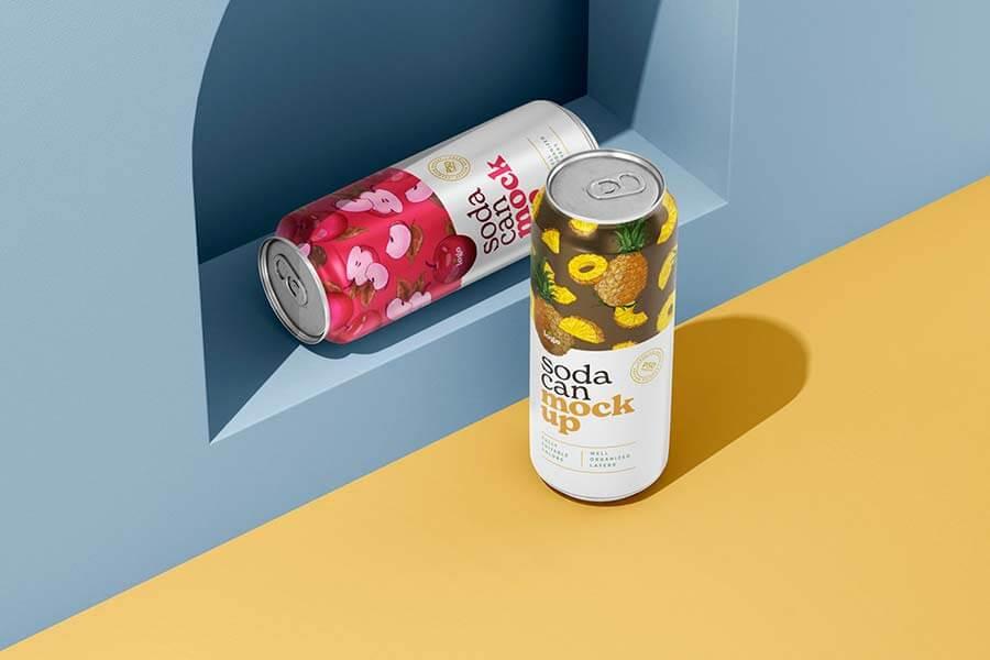 500ML Soda Can Mockup