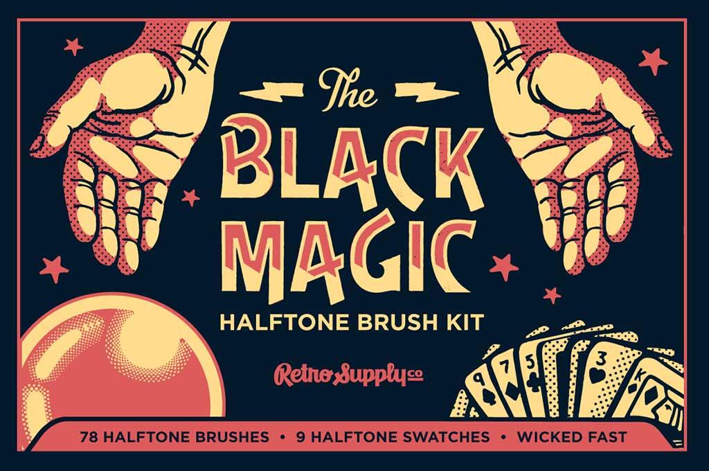 Black Magic Vector Halftone Brushes