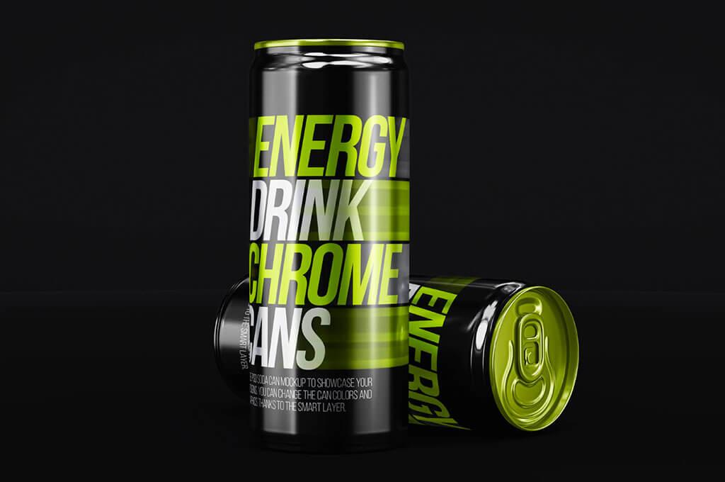 Energy Drink Psd Can Metal Mockup