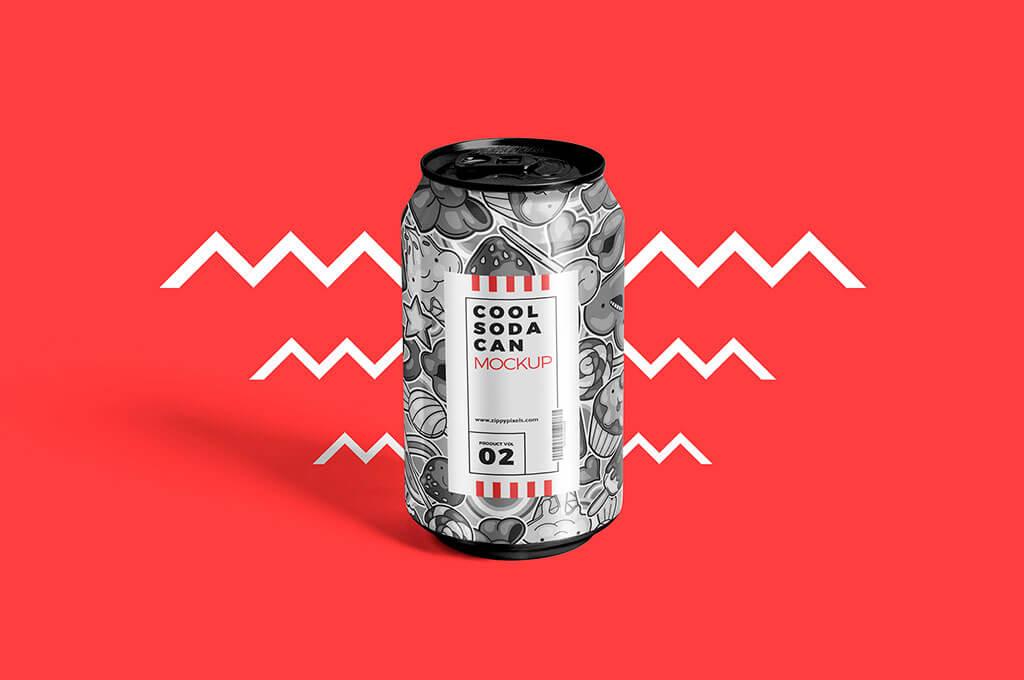 Free Tin Soda Can Mockup